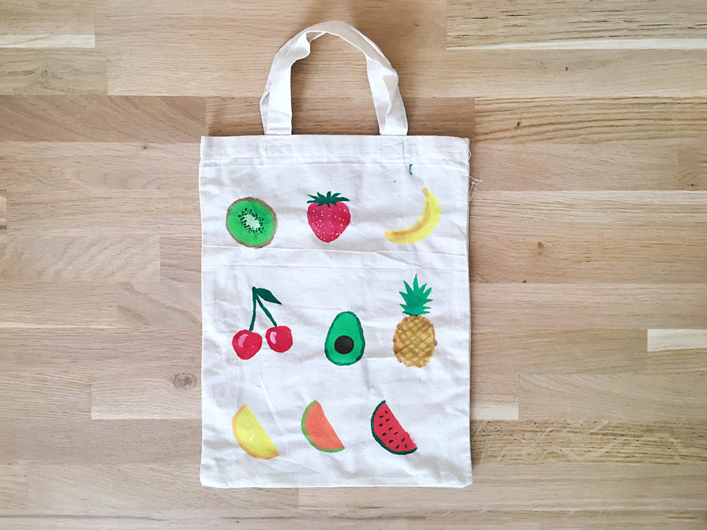 totebag tote bag peinture fruit été summer tropical kiwi cerise banane avocat ananas citron melon pasteque orange