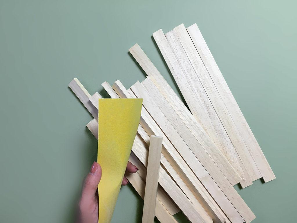 DIY tablette plateau canape accoudoir bois faire poncage